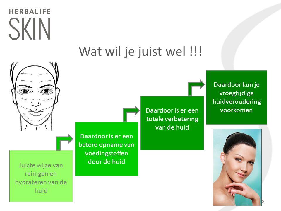 Wat wil je juist wel !!! Juiste wijze van reinigen en hydrateren van de huid Daardoor is er een betere opname van voedingstoffen door de huid Daardoor