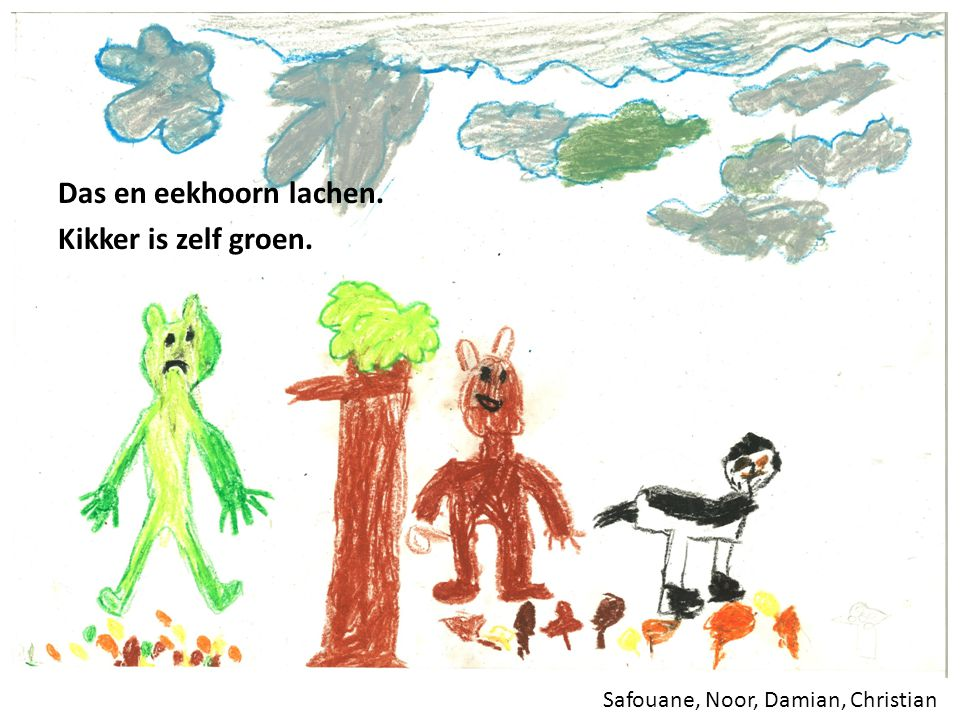 Daniël (7a), Brian (7a), Ola, Aslihan Eekhoorn zegt dat het herfst is.