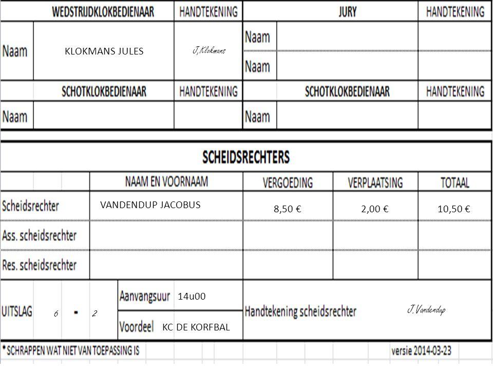 KLOKMANS JULES J,Klokmans VANDENDUP JACOBUS 8,50 €2,00 €10,50 € 14u00 6 2 KC DE KORFBAL J.Vandendup