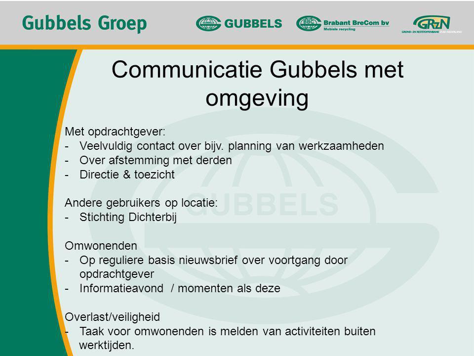 Communicatie Gubbels met omgeving Met opdrachtgever: -Veelvuldig contact over bijv. planning van werkzaamheden -Over afstemming met derden -Directie &