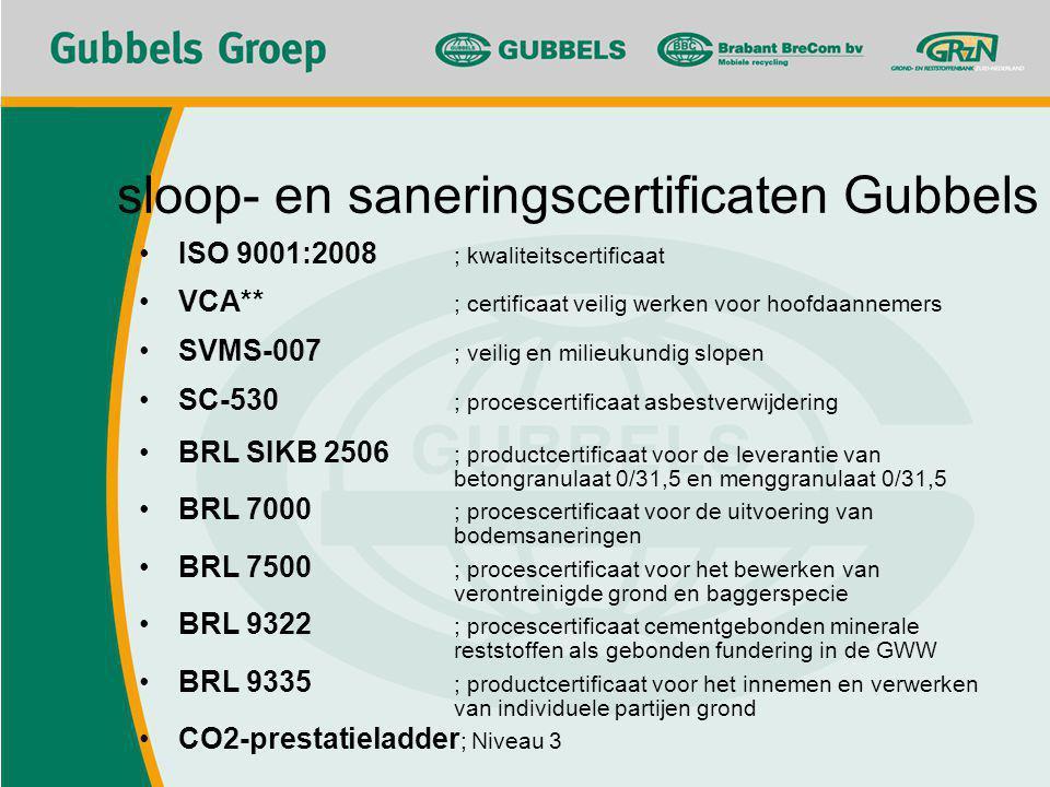 sloop- en saneringscertificaten Gubbels ISO 9001:2008 ; kwaliteitscertificaat VCA** ; certificaat veilig werken voor hoofdaannemers SVMS-007 ; veilig en milieukundig slopen SC-530 ; procescertificaat asbestverwijdering BRL SIKB 2506 ; productcertificaat voor de leverantie van betongranulaat 0/31,5 en menggranulaat 0/31,5 BRL 7000 ; procescertificaat voor de uitvoering van bodemsaneringen BRL 7500 ; procescertificaat voor het bewerken van verontreinigde grond en baggerspecie BRL 9322 ; procescertificaat cementgebonden minerale reststoffen als gebonden fundering in de GWW BRL 9335 ; productcertificaat voor het innemen en verwerken van individuele partijen grond CO2-prestatieladder ; Niveau 3