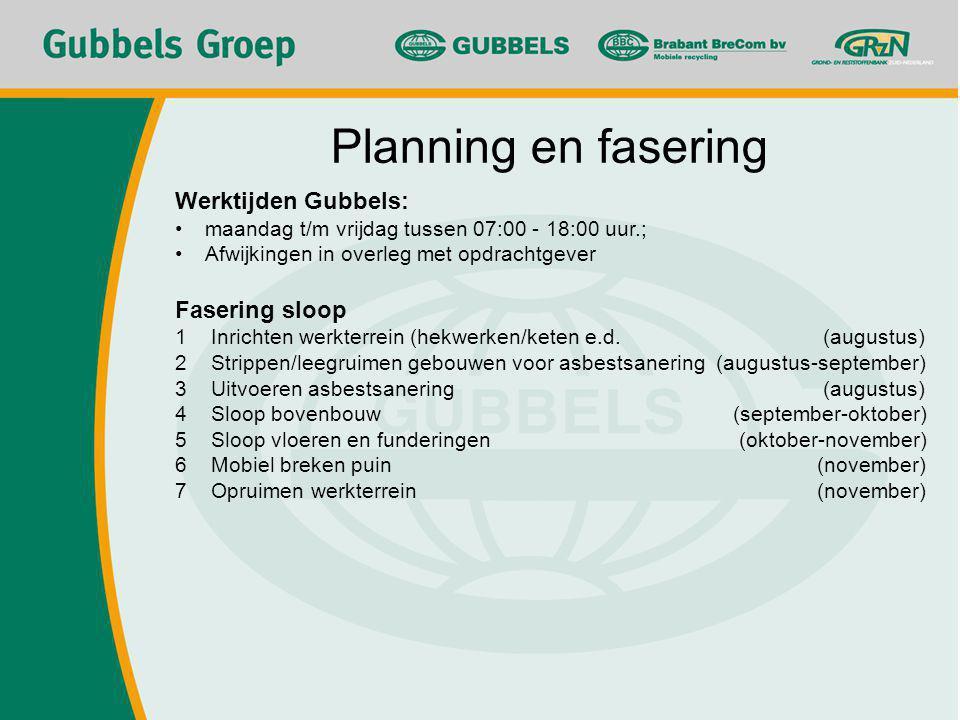 Planning en fasering Werktijden Gubbels: maandag t/m vrijdag tussen 07:00 - 18:00 uur.; Afwijkingen in overleg met opdrachtgever Fasering sloop 1Inrichten werkterrein (hekwerken/keten e.d.