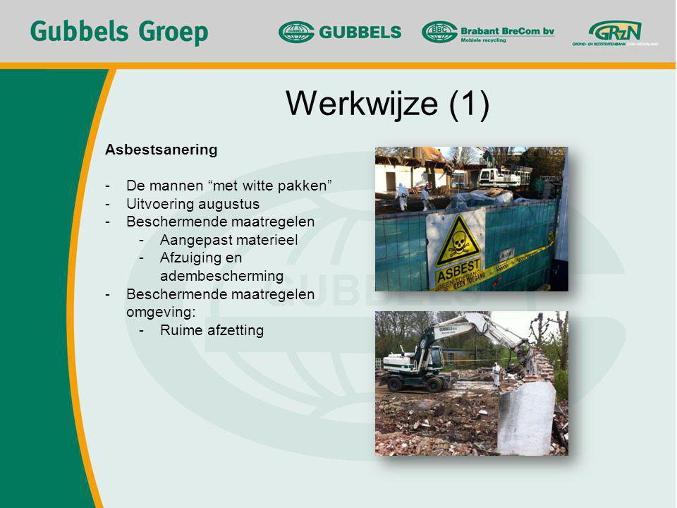 Asbestsanering -De mannen met witte pakken -Uitvoering augustus -Beschermende maatregelen -Aangepast materieel -Afzuiging en adembescherming -Beschermende maatregelen omgeving: -Ruime afzetting Werkwijze (1)