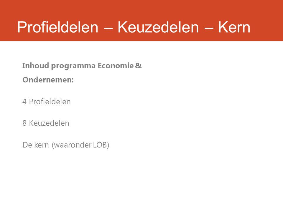 Profieldelen – Keuzedelen – Kern Inhoud programma Economie & Ondernemen: 4 Profieldelen 8 Keuzedelen De kern (waaronder LOB)