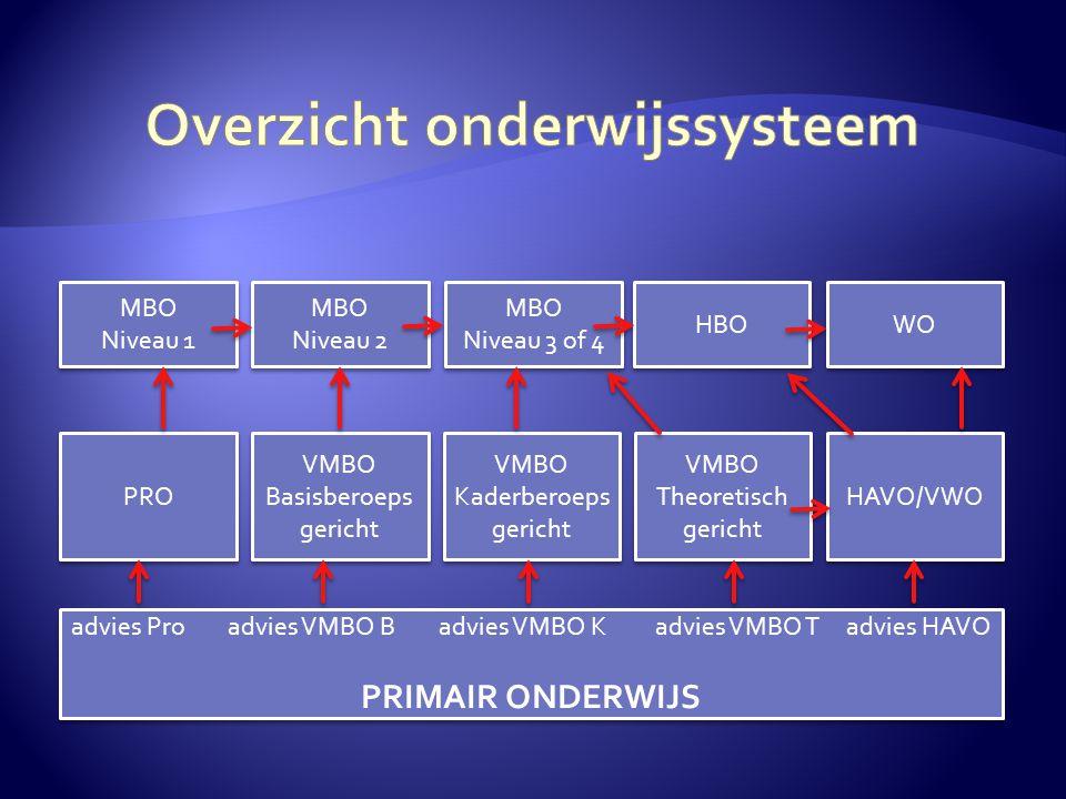 MBO Niveau 1 MBO Niveau 1 MBO Niveau 2 MBO Niveau 2 MBO Niveau 3 of 4 MBO Niveau 3 of 4 HBO WO HAVO/VWO VMBO Theoretisch gericht VMBO Theoretisch geri