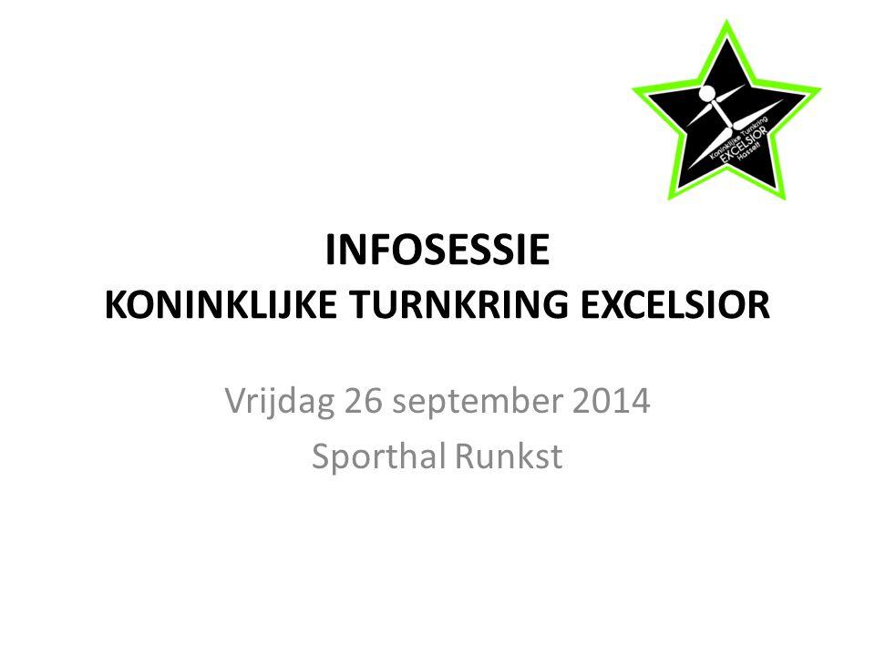 INFOSESSIE KONINKLIJKE TURNKRING EXCELSIOR Vrijdag 26 september 2014 Sporthal Runkst