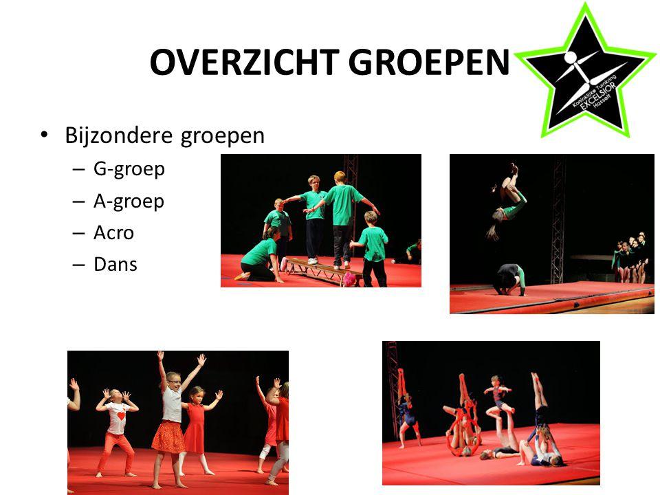 OVERZICHT GROEPEN Bijzondere groepen – G-groep – A-groep – Acro – Dans