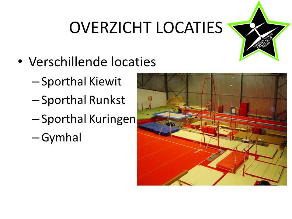 OVERZICHT LOCATIES Verschillende locaties – Sporthal Kiewit – Sporthal Runkst – Sporthal Kuringen – Gymhal