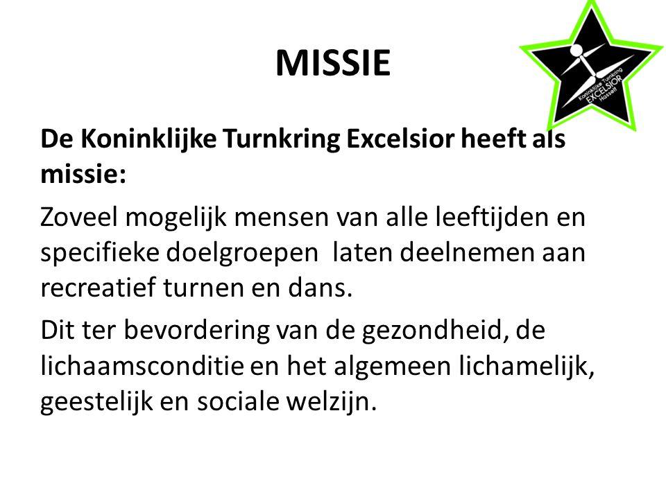 MISSIE De Koninklijke Turnkring Excelsior heeft als missie: Zoveel mogelijk mensen van alle leeftijden en specifieke doelgroepen laten deelnemen aan recreatief turnen en dans.