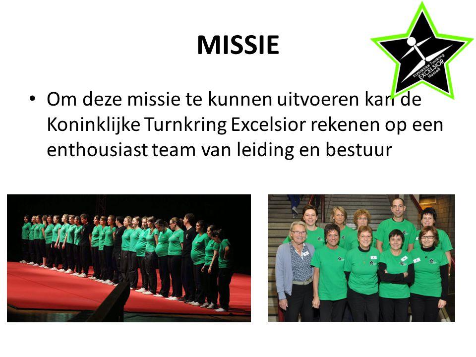 MISSIE Om deze missie te kunnen uitvoeren kan de Koninklijke Turnkring Excelsior rekenen op een enthousiast team van leiding en bestuur