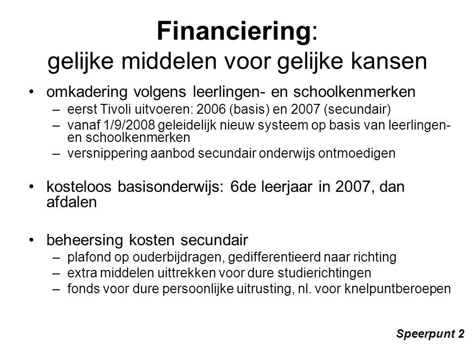 Financiering: gelijke middelen voor gelijke kansen omkadering volgens leerlingen- en schoolkenmerken –eerst Tivoli uitvoeren: 2006 (basis) en 2007 (secundair) –vanaf 1/9/2008 geleidelijk nieuw systeem op basis van leerlingen- en schoolkenmerken –versnippering aanbod secundair onderwijs ontmoedigen kosteloos basisonderwijs: 6de leerjaar in 2007, dan afdalen beheersing kosten secundair –plafond op ouderbijdragen, gedifferentieerd naar richting –extra middelen uittrekken voor dure studierichtingen –fonds voor dure persoonlijke uitrusting, nl.