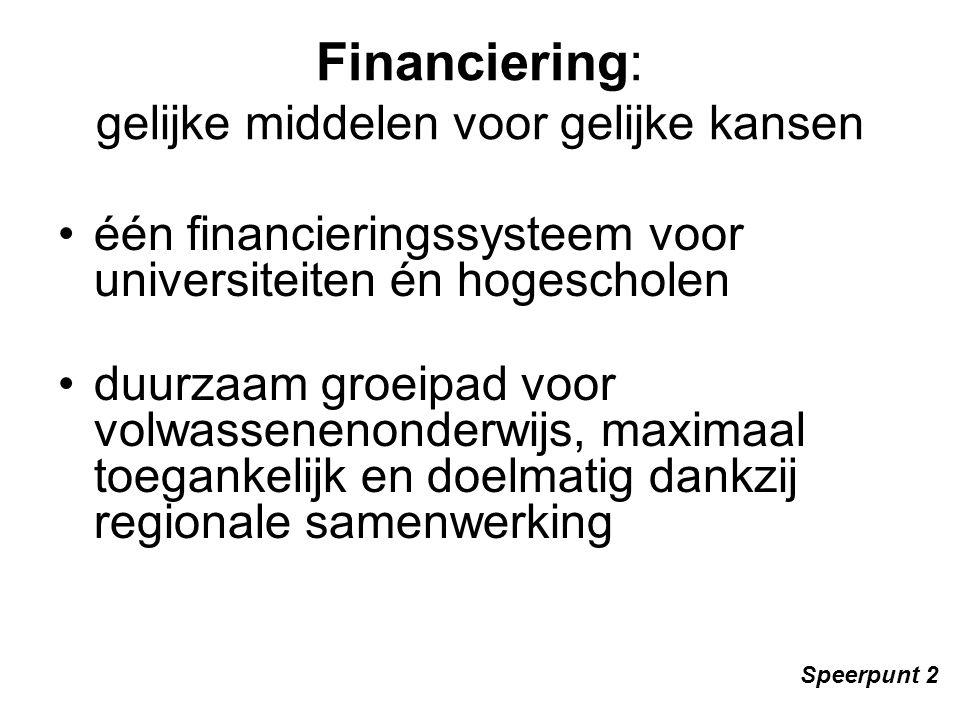Financiering: gelijke middelen voor gelijke kansen één financieringssysteem voor universiteiten én hogescholen duurzaam groeipad voor volwassenenonderwijs, maximaal toegankelijk en doelmatig dankzij regionale samenwerking Speerpunt 2