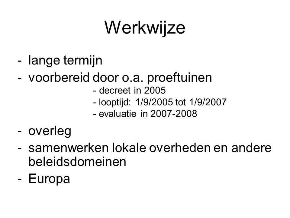 Werkwijze -lange termijn -voorbereid door o.a.