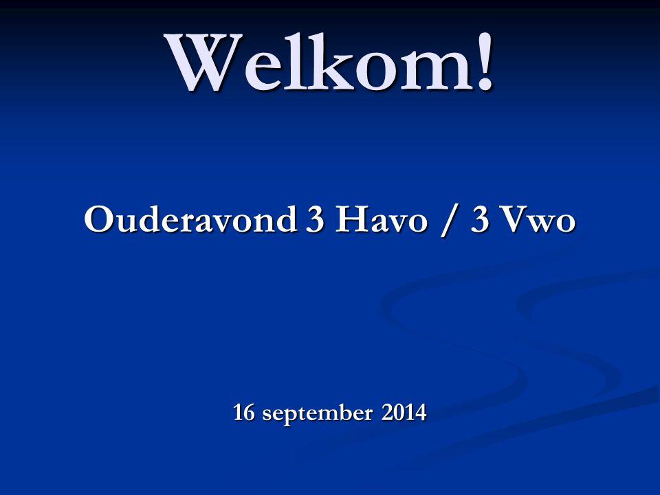 Welkom! Ouderavond 3 Havo / 3 Vwo 16 september 2014