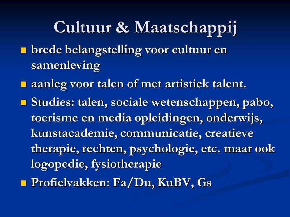 Cultuur & Maatschappij brede belangstelling voor cultuur en samenleving brede belangstelling voor cultuur en samenleving aanleg voor talen of met arti