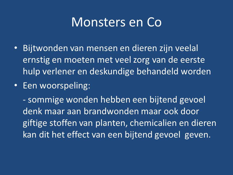 Monsters en Co Bijtwonden van mensen en dieren zijn veelal ernstig en moeten met veel zorg van de eerste hulp verlener en deskundige behandeld worden