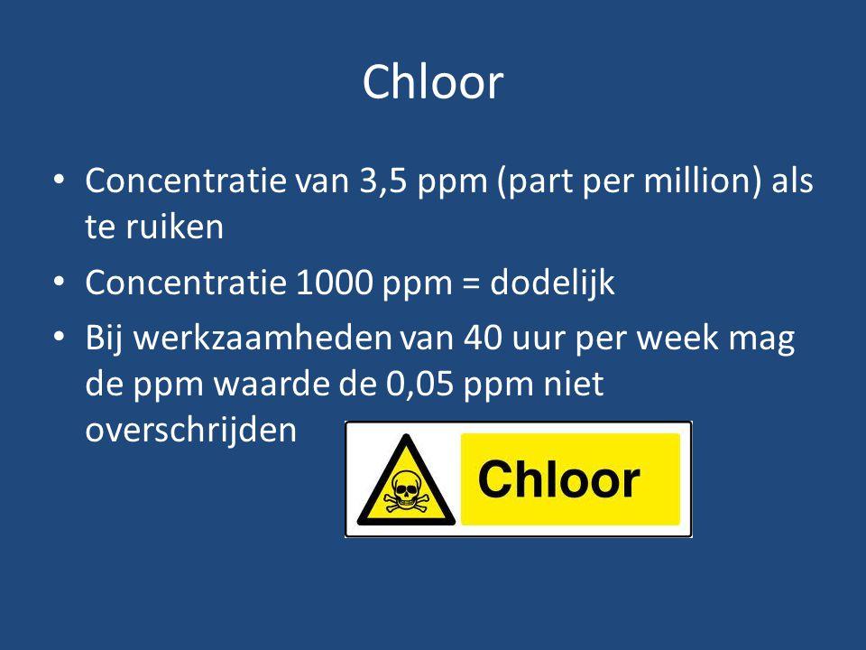 Chloor Concentratie van 3,5 ppm (part per million) als te ruiken Concentratie 1000 ppm = dodelijk Bij werkzaamheden van 40 uur per week mag de ppm waa