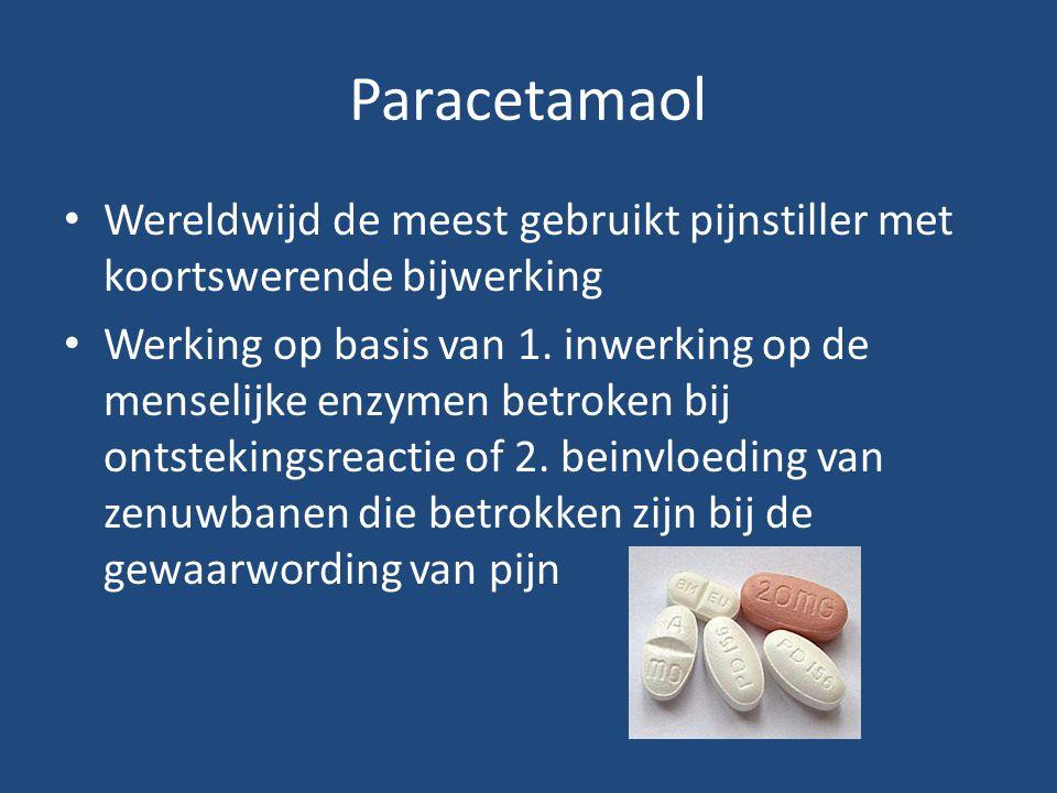 Paracetamaol Wereldwijd de meest gebruikt pijnstiller met koortswerende bijwerking Werking op basis van 1. inwerking op de menselijke enzymen betroken