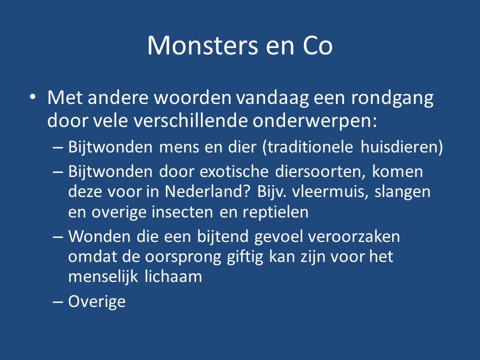 Monsters en Co Met andere woorden vandaag een rondgang door vele verschillende onderwerpen: – Bijtwonden mens en dier (traditionele huisdieren) – Bijt