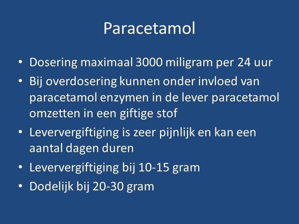 Paracetamol Dosering maximaal 3000 miligram per 24 uur Bij overdosering kunnen onder invloed van paracetamol enzymen in de lever paracetamol omzetten