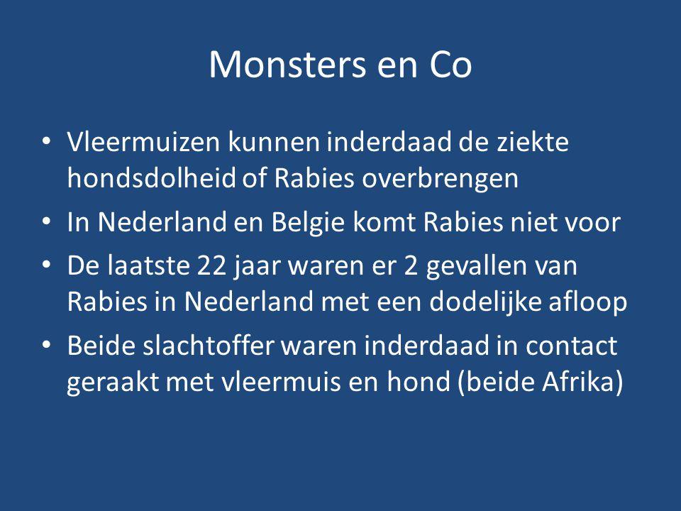 Monsters en Co Vleermuizen kunnen inderdaad de ziekte hondsdolheid of Rabies overbrengen In Nederland en Belgie komt Rabies niet voor De laatste 22 ja