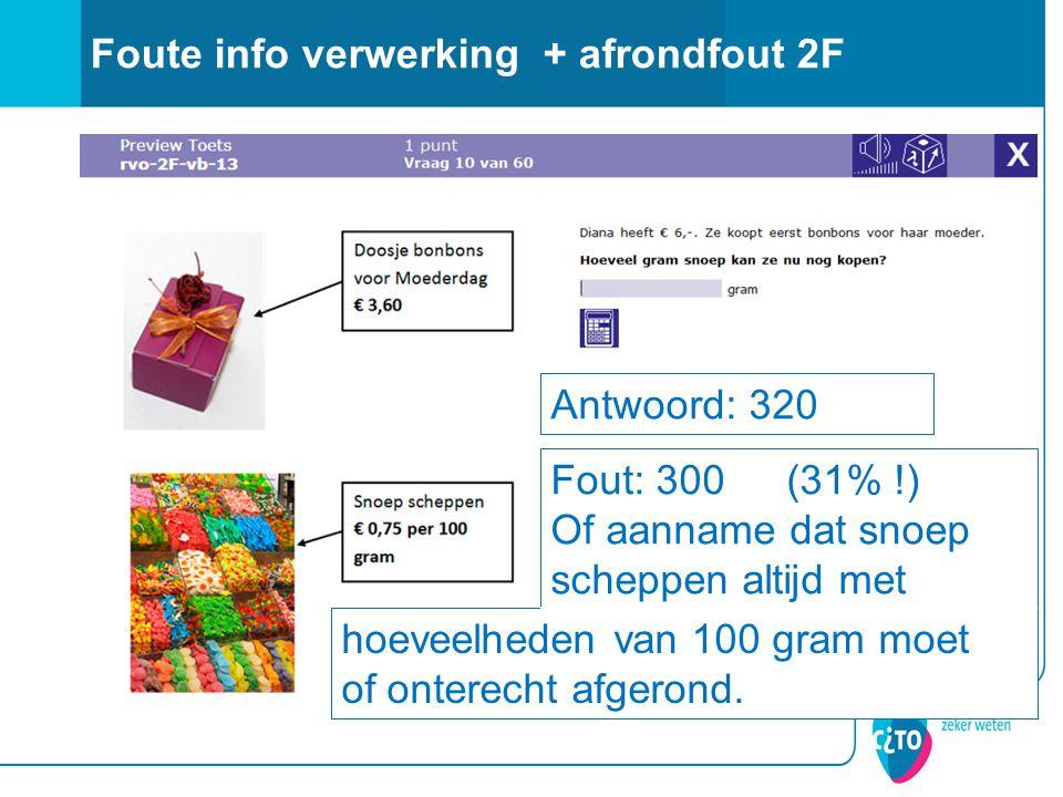 Foute info verwerking + afrondfout 2F Antwoord: 320 Fout: 300 (31% !) Of aanname dat snoep scheppen altijd met hoeveelheden van 100 gram moet of onterecht afgerond.