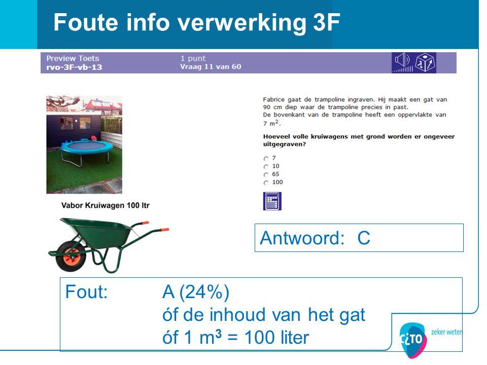 Foute info verwerking 3F Antwoord: C Fout: A (24%) óf de inhoud van het gat óf 1 m 3 = 100 liter