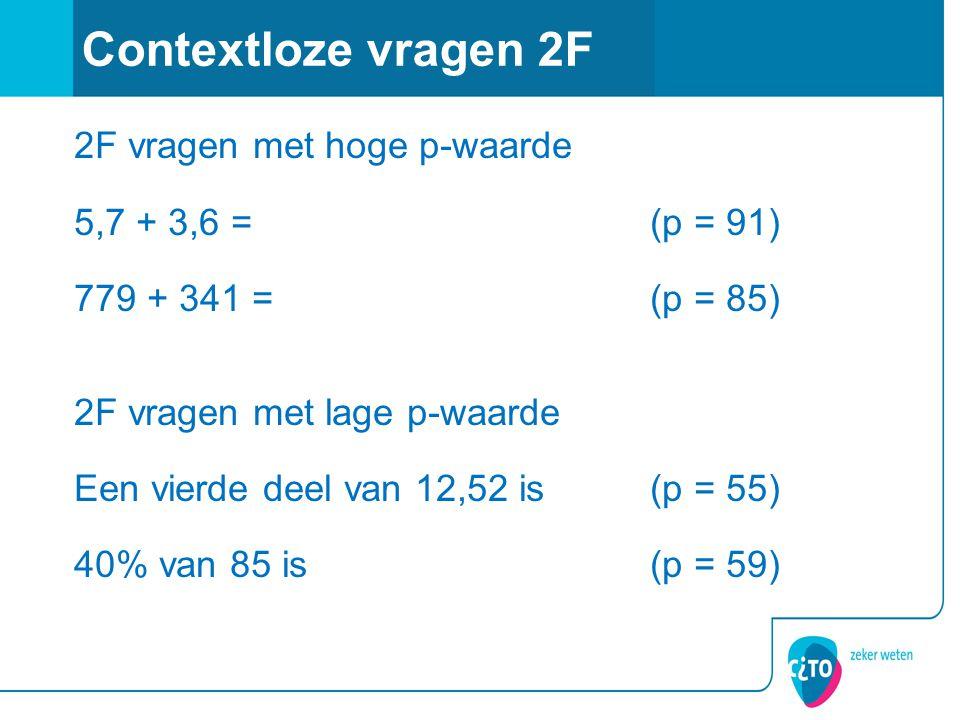 2F vragen met hoge p-waarde 5,7 + 3,6 =(p = 91) 779 + 341 =(p = 85) 2F vragen met lage p-waarde Een vierde deel van 12,52 is(p = 55) 40% van 85 is(p = 59) Contextloze vragen 2F