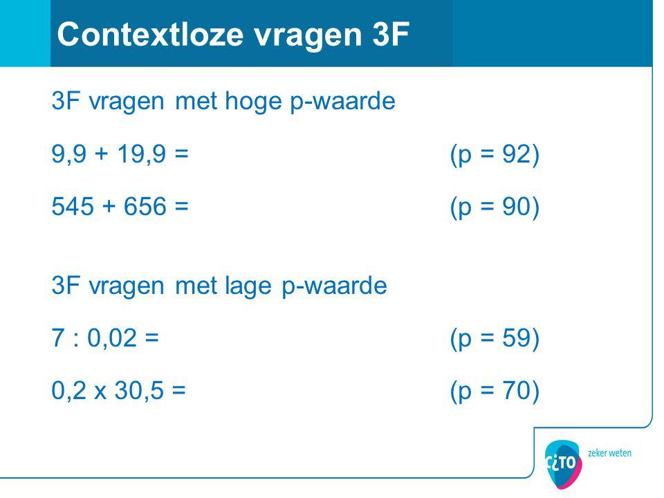 3F vragen met hoge p-waarde 9,9 + 19,9 =(p = 92) 545 + 656 =(p = 90) 3F vragen met lage p-waarde 7 : 0,02 =(p = 59) 0,2 x 30,5 =(p = 70) Contextloze vragen 3F