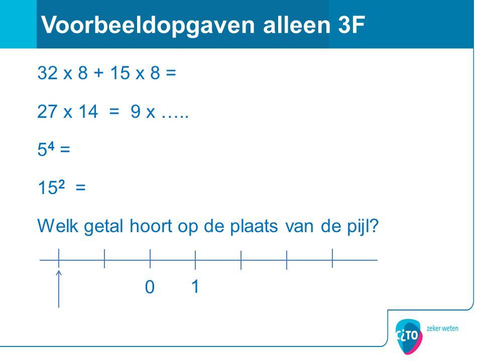 32 x 8 + 15 x 8 = 27 x 14 = 9 x …..5 4 = 15 2 = Welk getal hoort op de plaats van de pijl.
