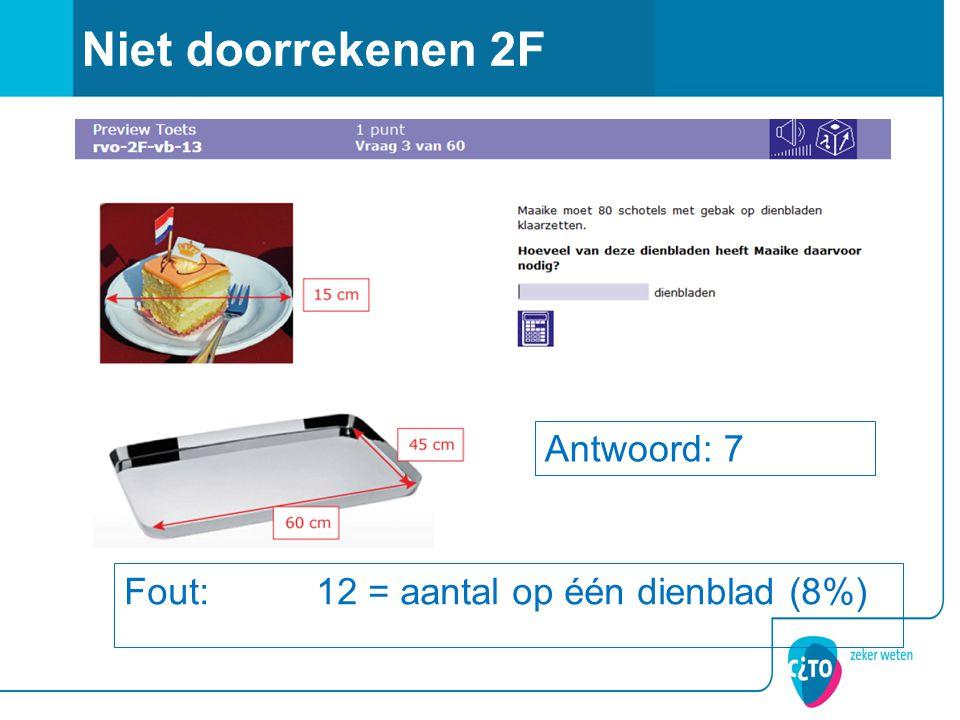 Niet doorrekenen 2F Fout: 12 = aantal op één dienblad (8%) Antwoord: 7
