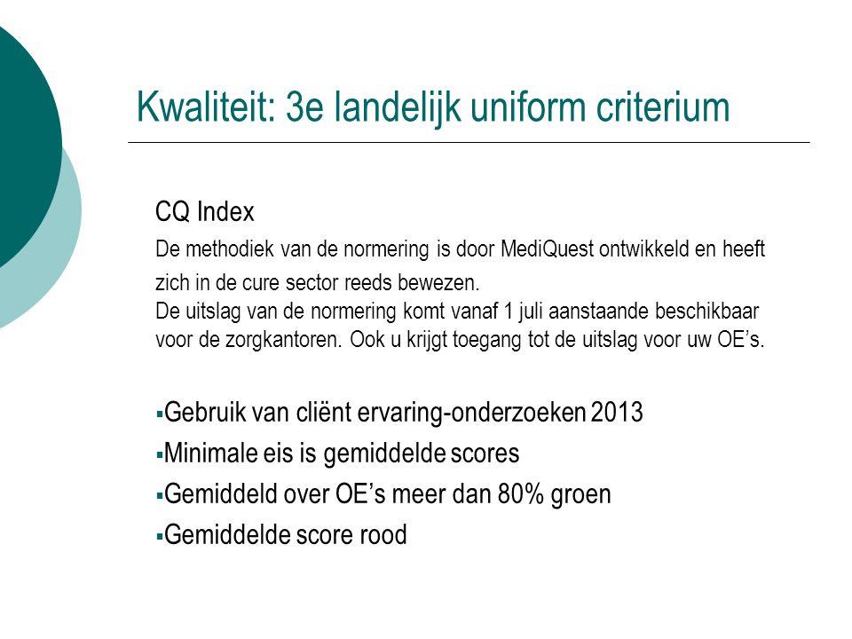 Kwaliteit: 3e landelijk uniform criterium CQ Index De methodiek van de normering is door MediQuest ontwikkeld en heeft zich in de cure sector reeds be