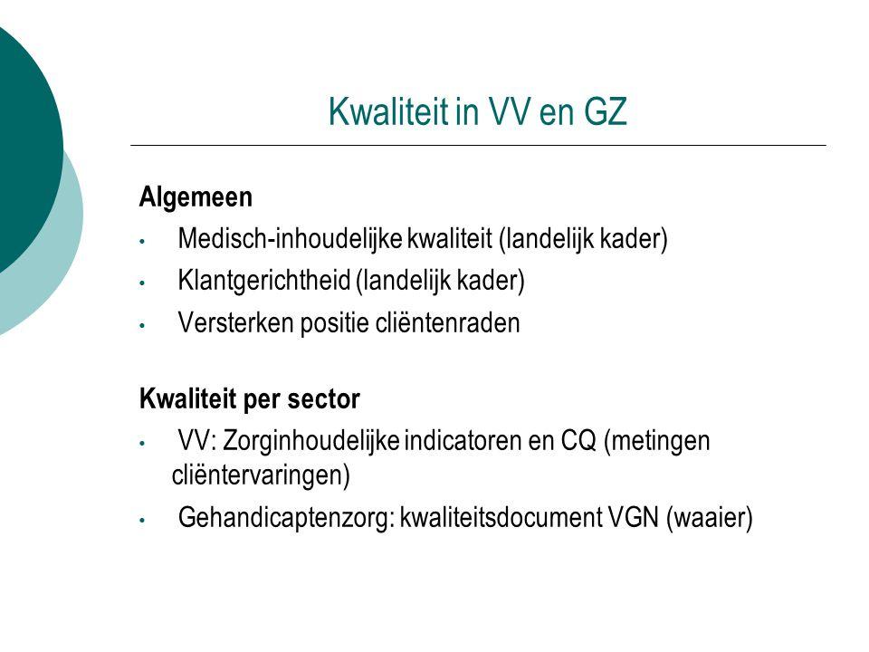 Kwaliteit in VV en GZ Algemeen Medisch-inhoudelijke kwaliteit (landelijk kader) Klantgerichtheid (landelijk kader) Versterken positie cliëntenraden Kw