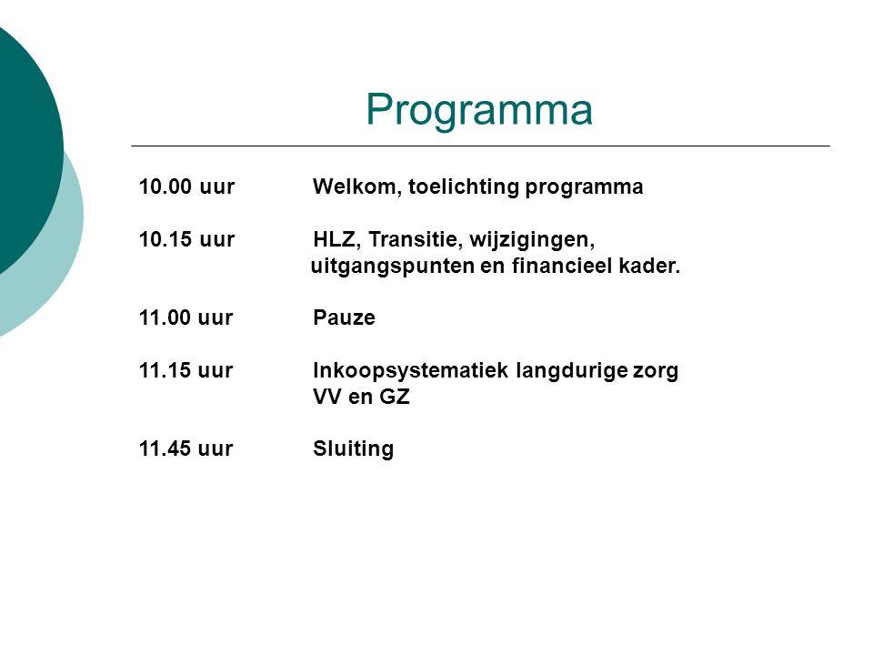 Programma 10.00 uurWelkom, toelichting programma 10.15 uurHLZ, Transitie, wijzigingen, uitgangspunten en financieel kader. 11.00 uurPauze 11.15 uurInk
