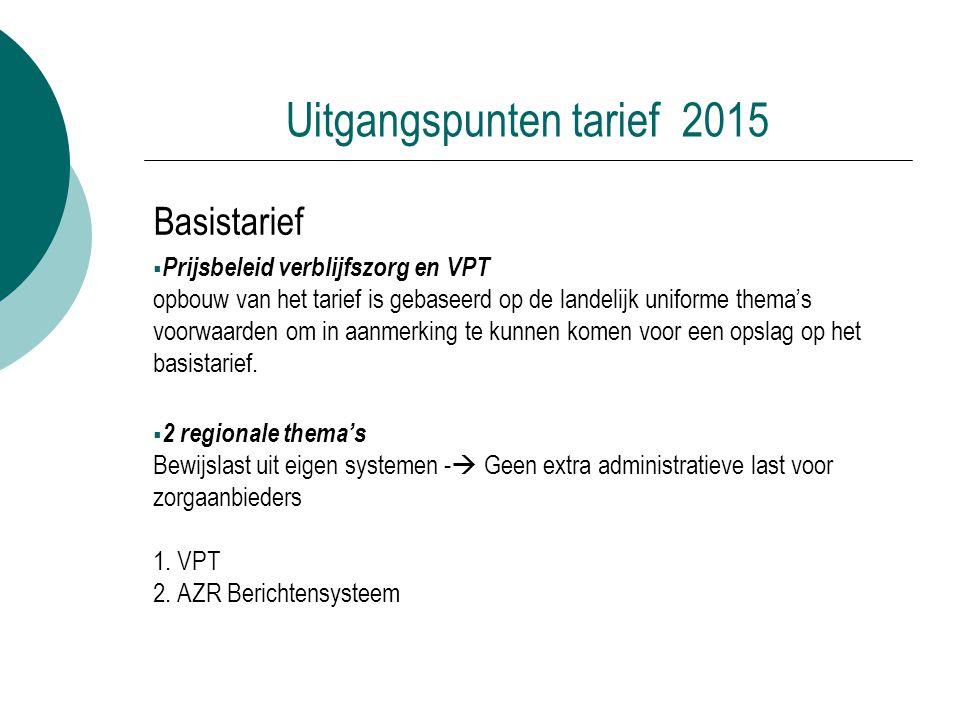 Uitgangspunten tarief 2015 Basistarief  Prijsbeleid verblijfszorg en VPT opbouw van het tarief is gebaseerd op de landelijk uniforme thema's voorwaar