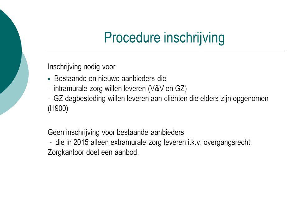 Procedure inschrijving Inschrijving nodig voor  Bestaande en nieuwe aanbieders die - intramurale zorg willen leveren (V&V en GZ) - GZ dagbesteding wi