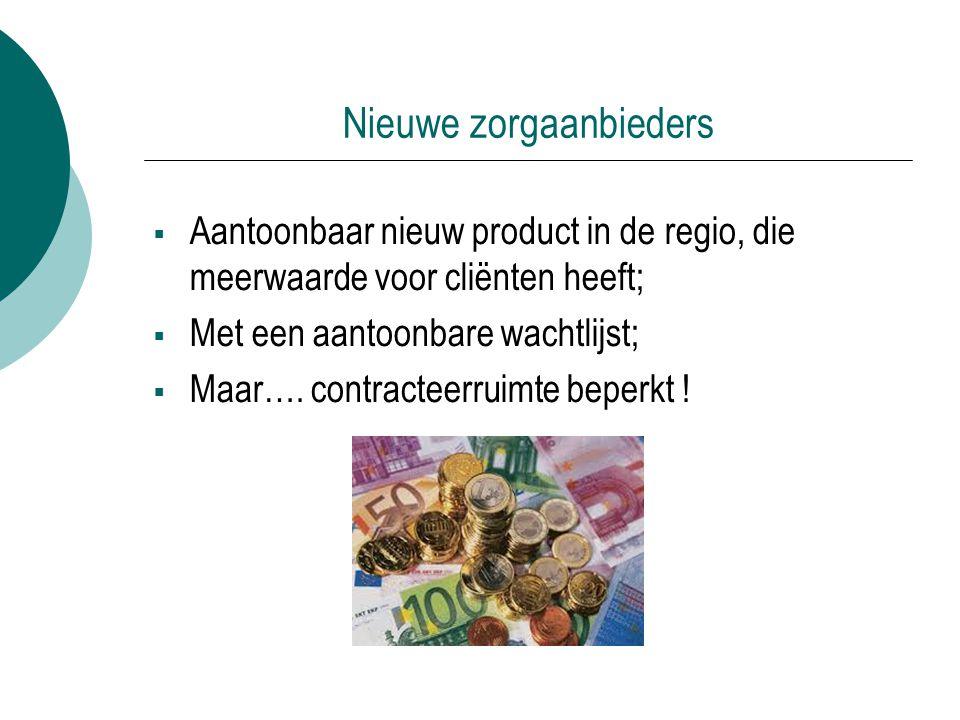 Nieuwe zorgaanbieders  Aantoonbaar nieuw product in de regio, die meerwaarde voor cliënten heeft;  Met een aantoonbare wachtlijst;  Maar…. contract