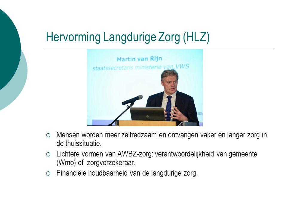 Hervorming Langdurige Zorg (HLZ)  Mensen worden meer zelfredzaam en ontvangen vaker en langer zorg in de thuissituatie.  Lichtere vormen van AWBZ-zo