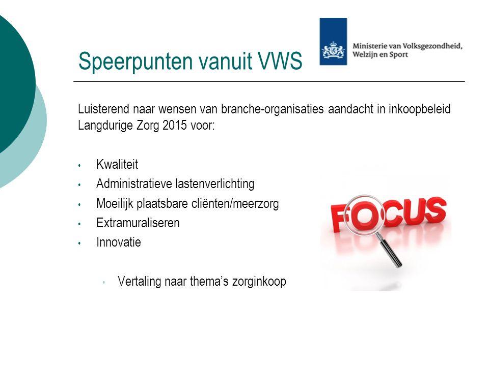 Speerpunten vanuit VWS Luisterend naar wensen van branche-organisaties aandacht in inkoopbeleid Langdurige Zorg 2015 voor: Kwaliteit Administratieve l