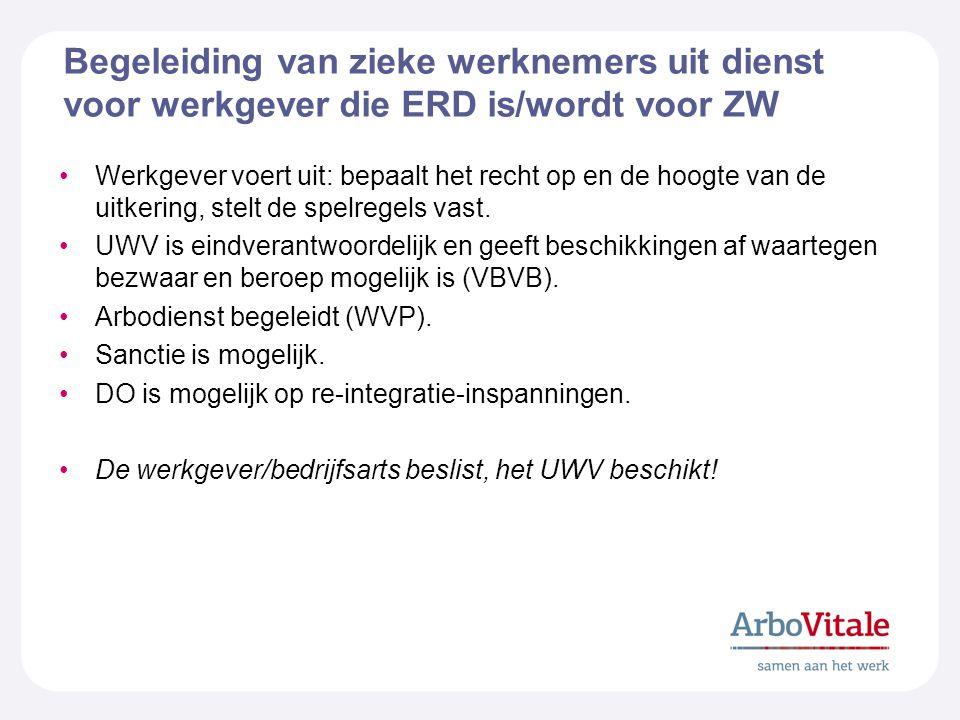 Begeleiding van zieke werknemers uit dienst voor werkgever die ERD is/wordt voor ZW Werkgever voert uit: bepaalt het recht op en de hoogte van de uitkering, stelt de spelregels vast.