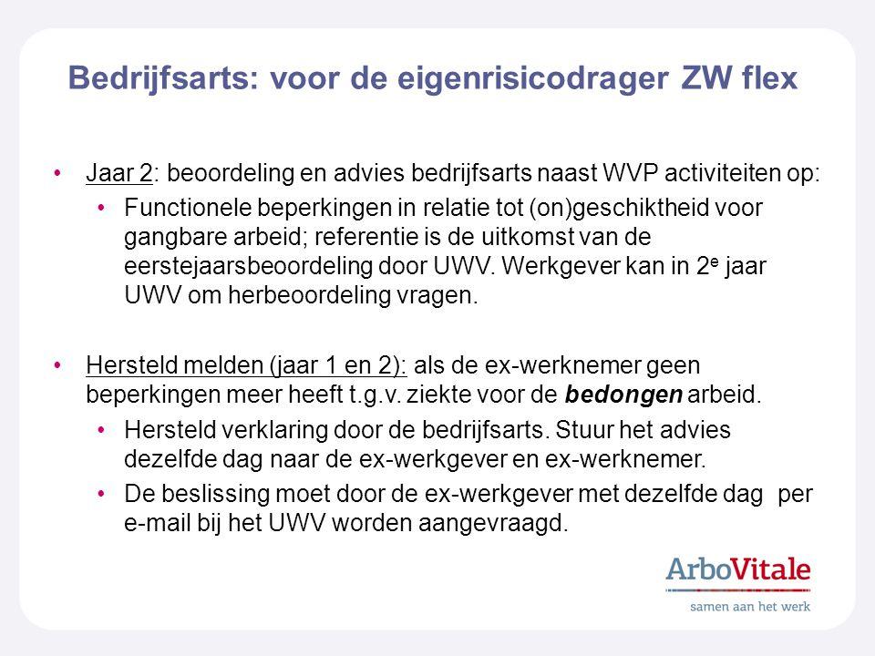 Bedrijfsarts: voor de eigenrisicodrager ZW flex Jaar 2: beoordeling en advies bedrijfsarts naast WVP activiteiten op: Functionele beperkingen in relatie tot (on)geschiktheid voor gangbare arbeid; referentie is de uitkomst van de eerstejaarsbeoordeling door UWV.
