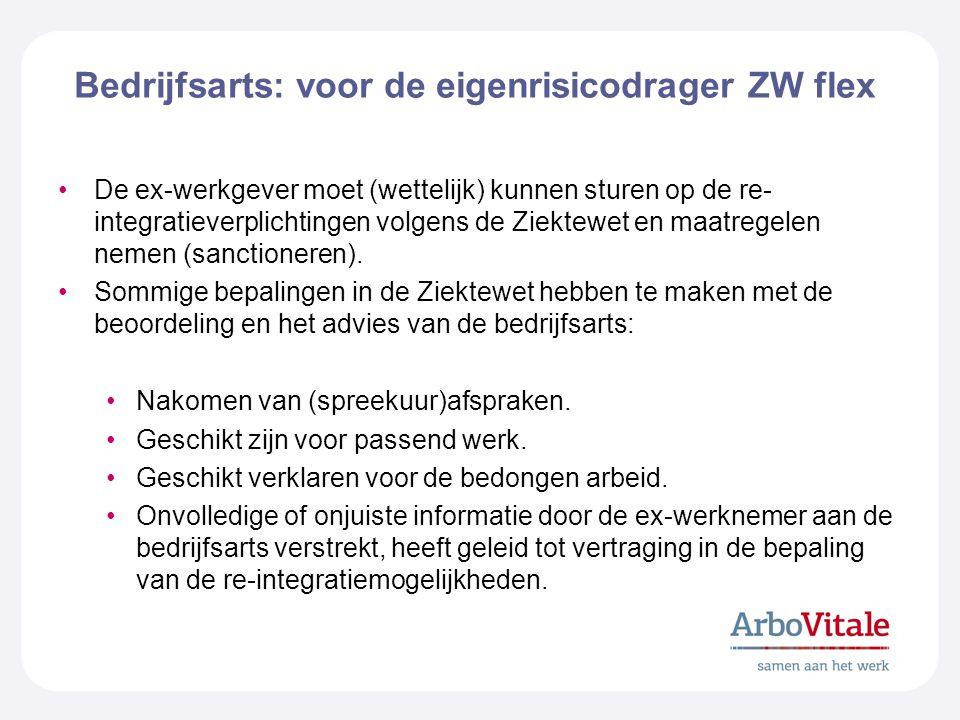 Bedrijfsarts: voor de eigenrisicodrager ZW flex De ex-werkgever moet (wettelijk) kunnen sturen op de re- integratieverplichtingen volgens de Ziektewet en maatregelen nemen (sanctioneren).