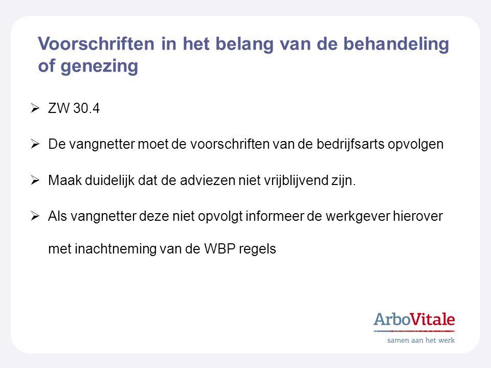 Voorschriften in het belang van de behandeling of genezing  ZW 30.4  De vangnetter moet de voorschriften van de bedrijfsarts opvolgen  Maak duidelijk dat de adviezen niet vrijblijvend zijn.