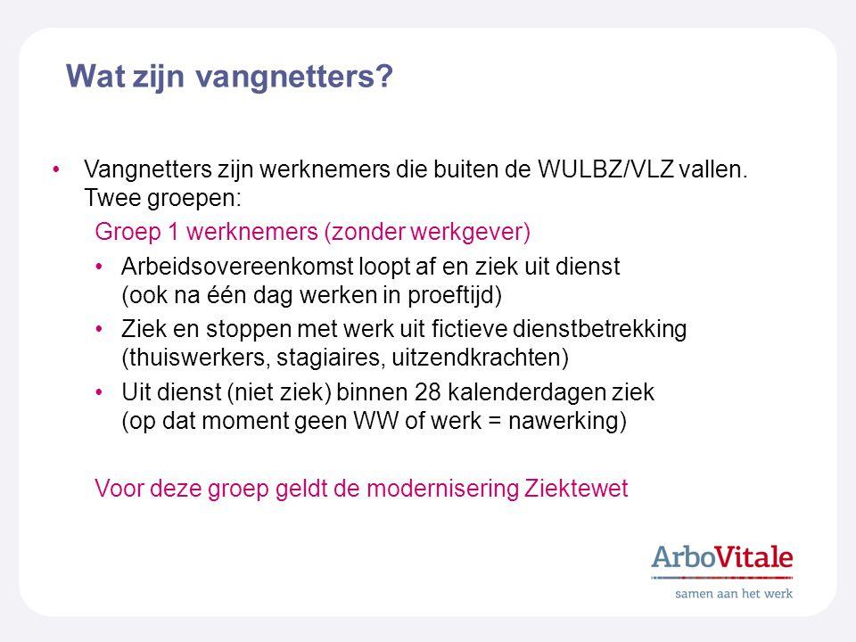 Wat zijn vangnetters? Vangnetters zijn werknemers die buiten de WULBZ/VLZ vallen. Twee groepen: Groep 1 werknemers (zonder werkgever) Arbeidsovereenko
