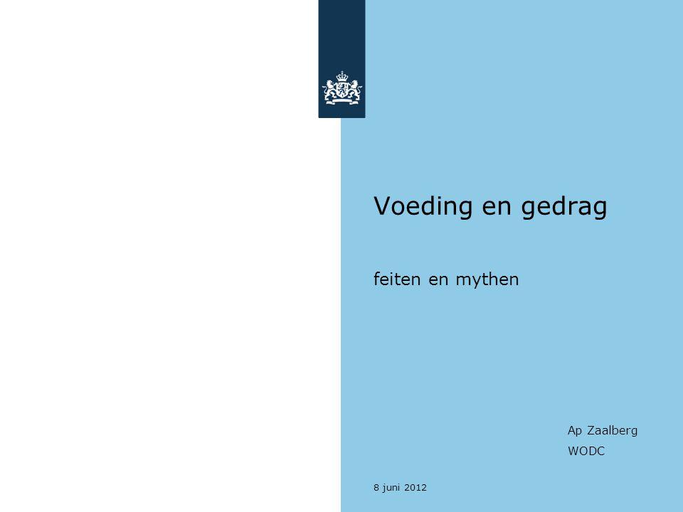 8 juni 2012 Voeding en gedrag feiten en mythen Ap Zaalberg WODC