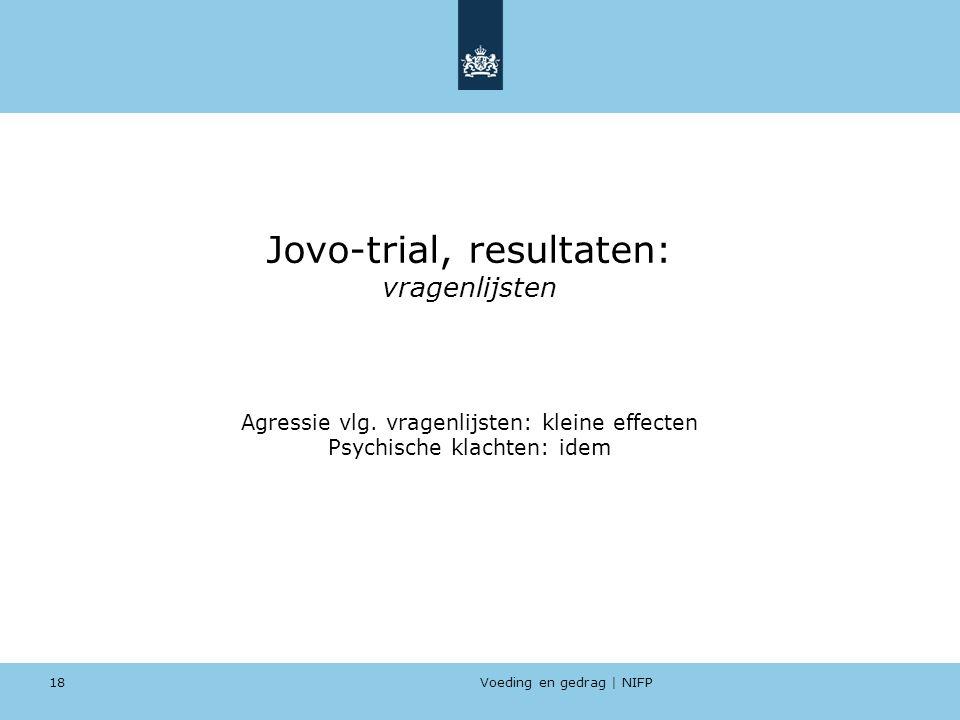 Voeding en gedrag | NIFP 18 Jovo-trial, resultaten: vragenlijsten Agressie vlg. vragenlijsten: kleine effecten Psychische klachten: idem