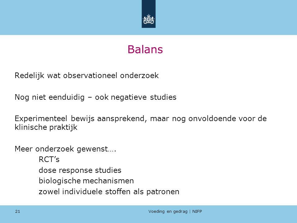 Voeding en gedrag | NIFP 21 Balans Redelijk wat observationeel onderzoek Nog niet eenduidig – ook negatieve studies Experimenteel bewijs aansprekend,