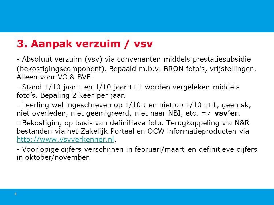 4 3. Aanpak verzuim / vsv - Absoluut verzuim (vsv) via convenanten middels prestatiesubsidie (bekostigingscomponent). Bepaald m.b.v. BRON foto's, vrij