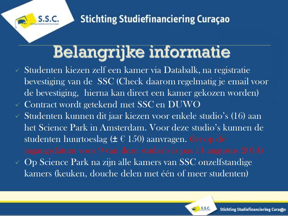 Studenten kiezen zelf een kamer via Databalk, na registratie bevestiging van de SSC (Check daarom regelmatig je email voor de bevestiging, hierna kan direct een kamer gekozen worden) Contract wordt getekend met SSC en DUWO Studenten kunnen dit jaar kiezen voor enkele studio's (16) aan het Science Park in Amsterdam.