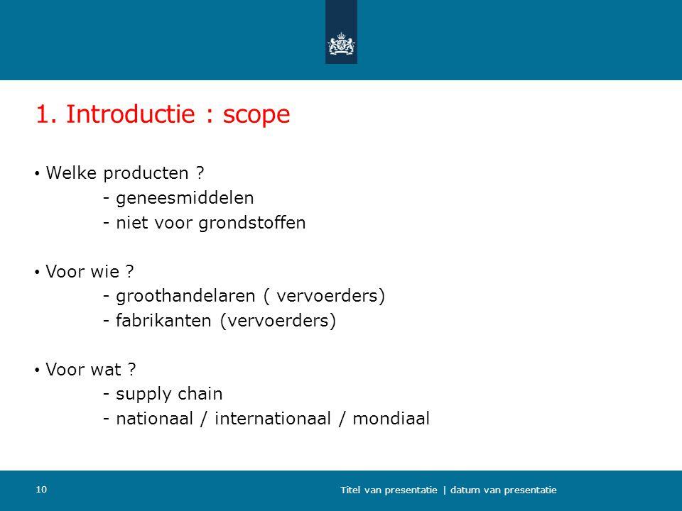 1. Introductie : scope Welke producten ? - geneesmiddelen - niet voor grondstoffen Voor wie ? - groothandelaren ( vervoerders) - fabrikanten (vervoerd